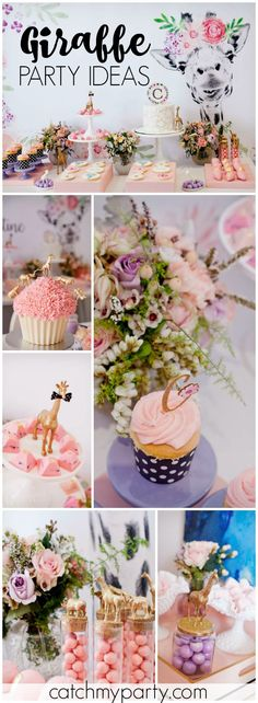 You have to see this gorgeous, floral giraffe birthday party! See more party ideas at Catchmyparty.com!