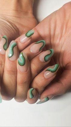 Edgy Nails, Funky Nails, Stylish Nails, Swag Nails, Nail Design For Short Nails, Funky Nail Designs, Green Nail Designs, Nails Design, Gel Nail Polish Designs