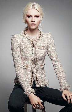 """McGINN also has a fantastic Chanel-look-alike boucle jacket this season (designed exclusively for Nordstrom's Via C Designer Dept.)....with faux pearls, leather-intertwined chain and all -- the McGINN """"ELIZABETH"""" Boucle Jacket."""