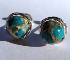 8mm Aqua Terra Jasper Studs Post Earrings Wire by phoebestreasure, $14.00. These are awesome. They look like miniature planet earth(s).
