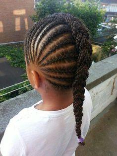 Cornrows into a big braided braid                                                                                                                                                     More