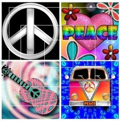 Hippie Designs - Square Images - Digital Collage Sheet - Download | barbosaart - Jewelry on ArtFire