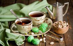 макарон, чай, фисташки, натюрморт