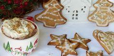 Chocolat chaud au caramel beurre salé et biscuits au miel - La médecine passe par la cuisine Biscuits, Gingerbread Cookies, Desserts, Cakes, Food, Honey, Chocolate Cups, Kitchens, Tropical Mixed Drinks