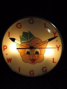 Piggly Wiggly Pam Telechron Bubble Glass Lighted Clock Sign OLD ORIG Super Rare