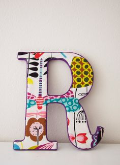 Handmade Fabric Letter R! Fabric Letters, Wood Letters, Monogram Letters, Alphabet And Numbers, Alphabet Cards, Vintage Crafts, Word Art, Initials, Kids Room