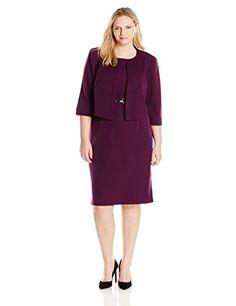 Maya Brooke Women's Plus-Size ¾ Sleeve Jacket Dress with...