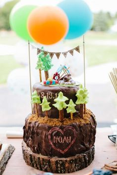 Boy's Camping Themed First Birthday Party Ideas