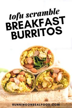 These healthy vegan breakfast burritos taste amazing and are easy to make. You can prep the tofu scramble ahead of time then just throw them together in the morning. They can even be prepared and frozen individually for a healthy take on frozen burritos! Vegetarian Brunch, Healthy Vegan Breakfast, Delicious Breakfast Recipes, Brunch Recipes, Tofu Recipes, Vegan Recipes Easy, Real Food Recipes, Clean Breakfast, Yummy Veggie