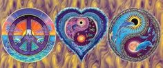 ☮ American Hippie Art ☮ Peace Sign .. Heart ..  Yin Yang .. Dolphins