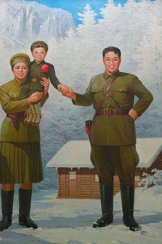 Kim Jong Il and Kim II Sung. North Korean Propaganda.
