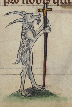 Book of Hours, Goat carrying crucifix, from a marginal cycle of images of the funeral of Renard the Fox, Walters Manuscript W.102, fol. 79r detail