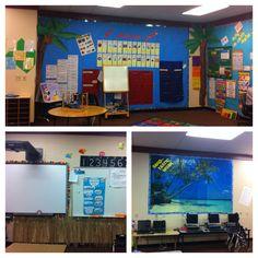 Beach themed classroom <3 the bulletin board Sandtastic work