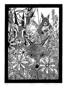The fox, the hare & the squirrel - Matthew Carey Simos | Printmaking | Illustration
