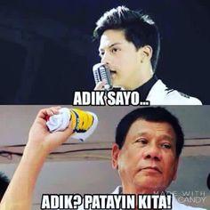 Adik? papatayin kita Memes Pinoy, Memes Tagalog, Pinoy Quotes, Tagalog Love Quotes, Hugot Lines Tagalog Funny, Tagalog Quotes Hugot Funny, Filipino Quotes, Filipino Funny, Love Pick Up Lines