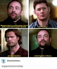 "When he's against them they're ""denim clad nightmares,"" but when he's with them they're ""big beautiful lumbering piles of flannel"" Supernatural Quotes, Supernatural Tv Show, Supernatural Tattoo, Sherlock Quotes, Mark Sheppard, Castiel, Crowley Supernatural, Supernatural Wallpaper, Dean Winchester"