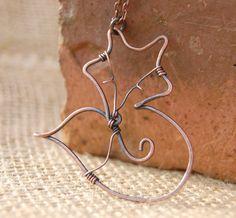Fox. Fox Necklace. Wire Fox. Sleeping Fox. Copper. Wire Jewelry