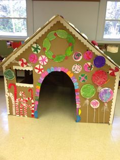 Our Life-Size Gingerbread House Cardboard Gingerbread House, Christmas Gingerbread House, Christmas Themes, Kids Christmas, Christmas Crafts, Christmas Decorations, Preschool Christmas, Christmas Activities, Gingerbread Man Activities