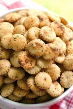 Easy Ranch Oyster Crackers are addictively delicious and the perfect addition to a party menu!
