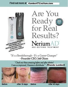 REAL SCIENCE, REAL RESULTS!! Contact me at rlambert73.nerium.com for more details