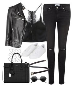 """""""Untitled#4509"""" by fashionnfacts ❤ liked on Polyvore featuring Paige Denim, AllSaints, Topshop, Yves Saint Laurent, Retrò and ASOS"""
