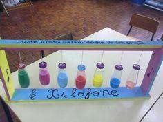 Xilofone made with glass bottles Preschool Music, Music Activities, Kindergarten Activities, Activities For Kids, Crafts For Kids, Instrument Craft, Homemade Musical Instruments, Making Musical Instruments, Drum Lessons For Kids