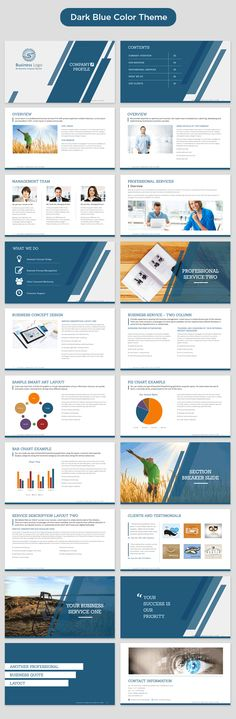 company profile powerpoint template dark blue preview