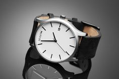 White/Black Leather Watch