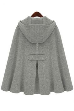 To find out about the Grey Hoodie Two PU Buckle Woolen Cape Coat at SHEIN, part of our latest Outerwear ready to shop online today!Great poncho with a hood and the tab detail : )Poncho Coat's are Fall big fashion item!the cloak coat is featuring soli Poncho Cape, Wool Poncho, Grey Poncho, Wool Cape, Cape Coat, Hooded Cloak, Hooded Jacket, Hooded Poncho, Cashmere Wool