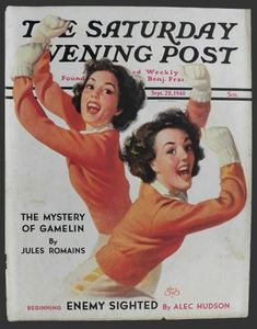 Saturday Evening Post - Twin Cheerleaders, Illustrated by Walt Otto. - (NOT Norman Rockwell) Norman Rockwell Prints, Norman Rockwell Paintings, The Saturdays, Saturday Evening Post, Illustrations, Vintage Magazines, Vintage Pictures, American Artists, Great Artists