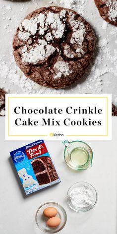 Chocolate Cake Mix Cookies   Kitchn Chocolate Cake Mix Cookies, Cookies And Cream Cake, Chocolate Crinkles, Chocolate Cookie Recipes, Cake Cookies, Cookies Et Biscuits, Brownie Cookies, Crinkle Cookies Cake Mix, Chocolate Brownies