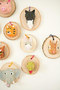 DIY Faux Taxidermy Ornaments Made by Kids Fun Crafts For Kids, Projects For Kids, Diy For Kids, Activities For Kids, Craft Projects, Egg Carton Crafts, Faux Taxidermy, Animal Crafts, Recycled Art