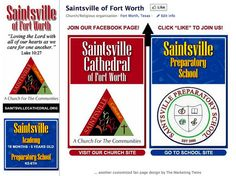 Saintsville Preparatory School (Fort Worth) Custom Facebook Page - designed by The Marketing Twins Facebook Fan Page, Love The Lord, The Marketing, Fort Worth, Page Design, Create Yourself, Cathedral, Twins, School