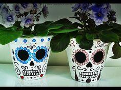 DIY: Vaso de Flores Caveira Mexicana (Sugar Skull Plant Pot)   Ideias Pe...
