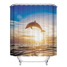 Home Decor Various Ocean shark Theme Waterproof Bathroom Shower Curtain Polyester 12Hooks #Affiliate