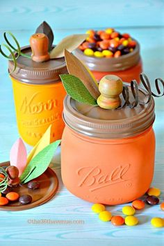 These pumpkin Mason jars make the cutest dining table centerpieces. Get the tutorial at The 36th Avenue. What you'll need: 4-Ounce Mason Jars ($25, amazon.com); Acrylic Paint ($5, amazon.com)