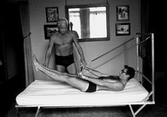"""Joe gives I.C. Rapoport his first lessons in """"Pilates"""" Oct. 1961 #pilates"""