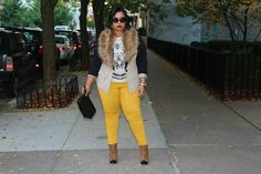 #PlusSizeFashion  brown fur collar, camel colored jacket w/ black sleeves, high waisted mustard yellow pants, and fabulous cheetah print captoe booties!!!  <3<3<3 #Chic #Fab