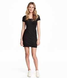 Short, fitted dress in cotton-blend jersey with a scoop neckline and short sleeves.$12.99 in gray a medium please!