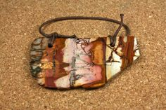 Red Creek Jasper Tablet Pendant  Red Teal and Brown by ABOSBeads