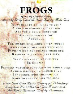 "I could go on for hours on what friendship... There's a song called Frogs on this record ... Layne wrote the coolest words. He said, ""What does friend mean to you/A word so wrongfully abused."" That's the first line of the song. To me, that just really hits home with our whole band. We know what friendship means and we know what standing by your bro and standing by your ppl and having them stand by you... It's such a special feeling when someone sticks up for you. It put everything in a…"
