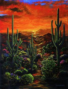 Sunset Painting - Desert Sunset by Lance Headlee
