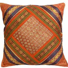 Diy Cushion Covers, Cushion Cover Designs, Pillow Covers, Patchwork Cushion, Patchwork Tiles, Sari Fabric, Indian Fabric, Designer Bed Sheets, Pillos