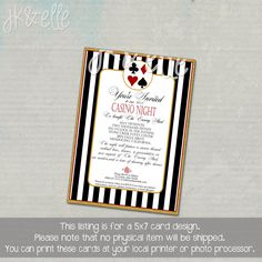 Casino Night Invitation by JKandElle on Etsy https://www.etsy.com/listing/201508085/casino-night-invitation