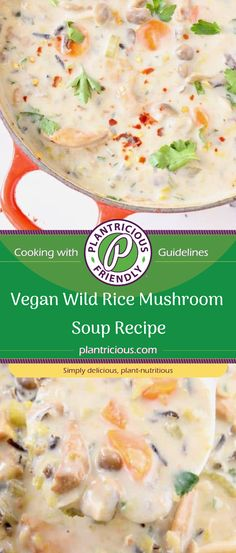 Creamy Vegan Wild Rice Mushroom Soup recipe that is comforting, warming and filling. Made with a mix of wild chanterelle mushrooms and hen of the woods, lots of leeks, vegetables and wild rice in a heavenly dairy-free white wine broth. It absolutely must appear on the Thanksgiving and Christmas table!
