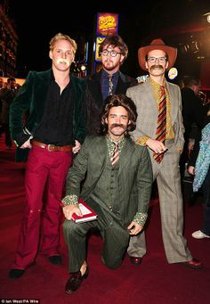 Made in the 70s: Jamie Laing (left) Francis Boulle (centre) Oliver Proudlock (right) and Spencer Matthews (kneeling) dressed up as characters from Anchorman 2 at the premiere on Wednesday