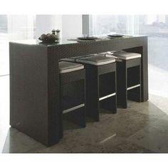 Mesa alta asia comedor moderna desayunador madera for Mesas altas de cocina