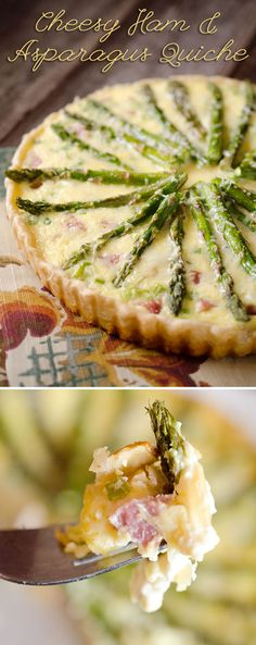 Cheesy Ham & Asparagus Quiche - Filled with a luscious custard, leftover ham and fresh asparagus for a perfect quiche recipe for brunch or dinner!