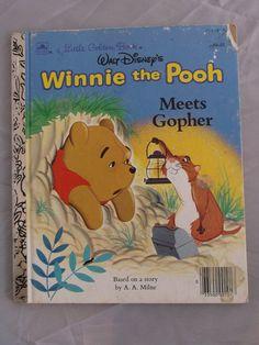 Walt Disney's Winnie the Pooh Meets Gopher Little Golden Book (c) 1965 Vintage Read Aloud Stories Hardcover Children's Story Book Disney