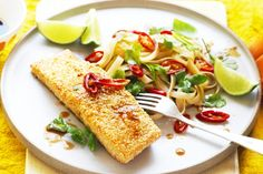 Sesame Salmon with Ginger Rice Noodles: Simple and delicious, this gluten-free dish of sesame crusted salmon teamed with ginger rice noodles is a true delight for the tastebuds. Rice Noodle Recipes, Fish Recipes, Asian Recipes, Seafood Recipes, Cooking For A Crowd, Just Cooking, Quick Easy Meals, Easy Dinner Recipes, Coles Recipe